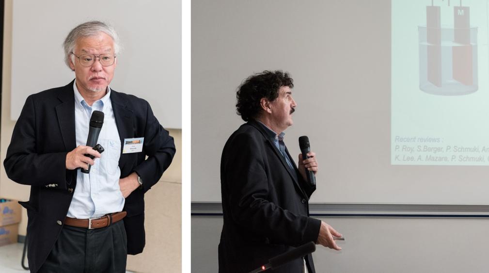 Пленарные доклады: Hideki Masuda (Tokyo Metropolitan University) – слева и Patrik Schmuki (University of Erlangen Nuremberg) – справа.