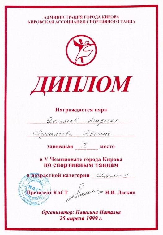 Диплом в V чемпионате г. Кирова по спортивным танцам
